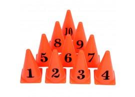 10 Kegels en pionnen genummerd