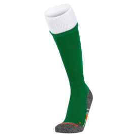 Groene voetbalsokken met witte rand aan de bovenkant