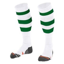 Witte stanno sokken met groene / rode / blauwe / zwarte  ringen