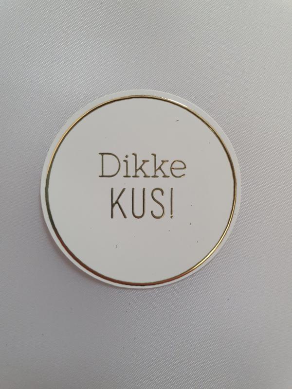 Dikke kus | Goudfolie | 10 stickers