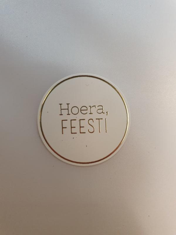 Hoera, feest | Goudfolie | 10 stickers