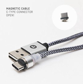 Magnetische oplaadkabel  en connector model Magnetic Cable Type C (goudkleurig)