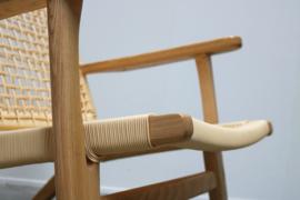 Deense vintage stijl fauteuils massief eiken met gevlochten riet