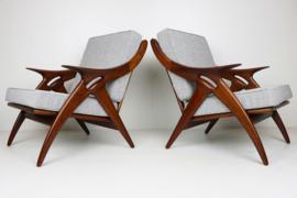 Koppel ''De Knoop'' design fauteuils ontworpen door De Ster Gelderland 1960