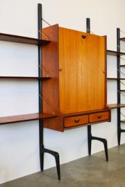Large Wall Unit in Teak by Louis van Teeffelen for Webe 1950s With Desk module