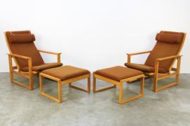 Koppel vintage fauteuils met hockers Model 2254 ontworpen door Borg Mogensen voor Fredericia 1950