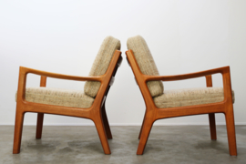 Koppel 'Senator' fauteuils in teak ontworpen door Ole Wanscher voor P. Jeppesen 1950s