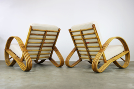 Koppel Rotan fauteuils ontworpen door Rohe Noordwolde in 1950s