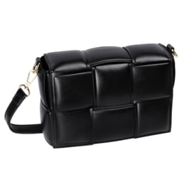 Bag with braided bands effect in faux leather