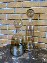2 delige set - karaf + stop - bruin glas