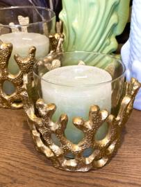 Waxinelichthouder - koraal goud groot