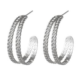 Oorbellen Chain Hoops Silver