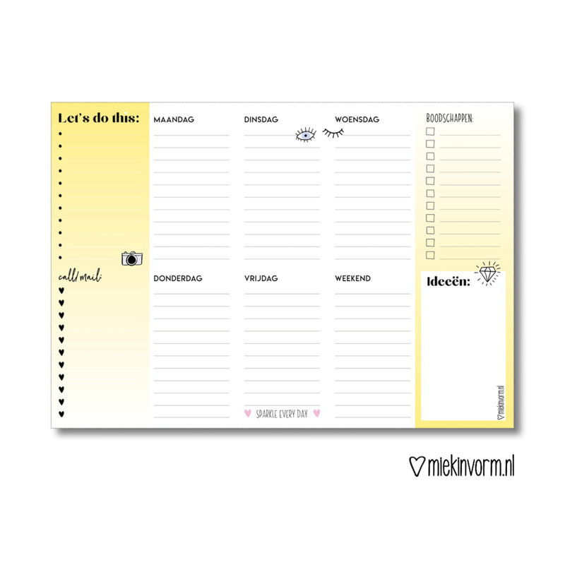 Weekplanner Let's do this   A4