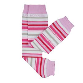 Hoppediz beenwarmertjes bio-katoen, roze-wit gestreept
