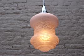 Art deco hanglamp zalm/roze met wit