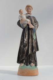 Oud heiligbeeld Antonius van Padua gekleurd biscuit