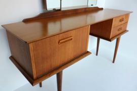 Teak Vintage Kaptafel met Drieluik Spiegel