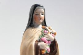 Heiligbeeldje Theresia van Lisieux gekleurd biscuit