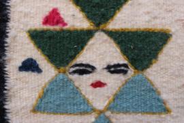 Vintage geweven abstracte voorstelling in lijst