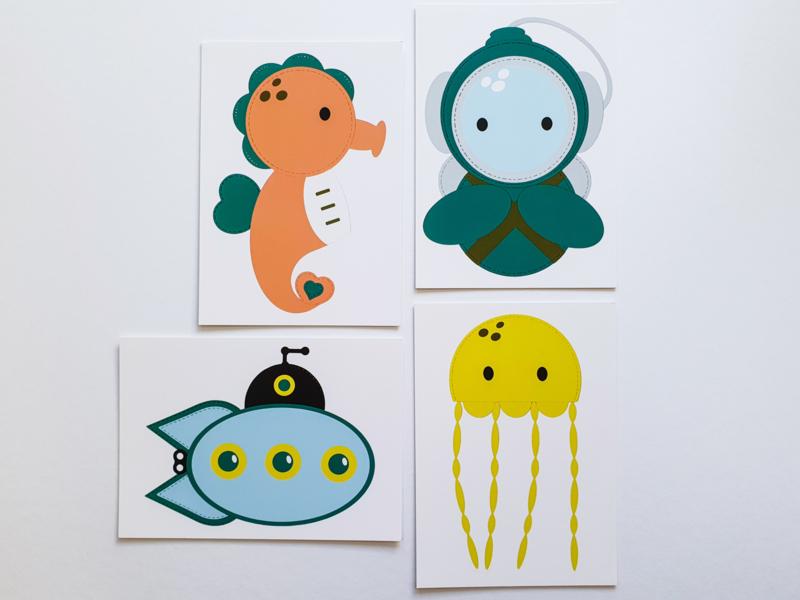 Set van 4 kaarten: Diep in de zee