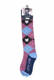 Roze geruite sokken maat 29-31. Van Little Sister.