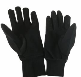 Warme winterhandschoenen fleece met suède grip. Kleur: zwart.