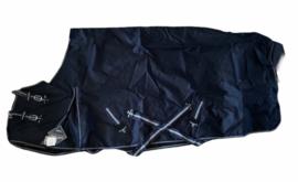 Donkerblauwe 100 grams outdoordeken maat 185 cm.