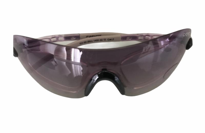 Nieuwe, paarse wedstrijbril/rijbril van Casco. 1 maat.