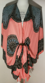 Sarong vest mandala.  Symbool voor oneindigheid. Kleur sacraalchakra. 100% rayon, met sarong knoop.