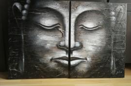 Mediterende Boeddha tweeluik. Acryl op doek, op panelen gespannen. 120 x80 cm.