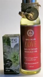 Exotic etherische olie van puur kamille extract. Werkt spierontspannend, vergelijkbaar qua werking met Opium en Papaver & Love massage olie met lavendel, coconut, olijf en soja olie. 100% zuivere ingredienten. Bali Alus gecertificeerd. 100 ml & 10 ml.