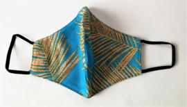 Batik mondkapje Bali blad Art  goud/blauw.