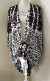 Sarong vest pauw, dieppaars/wit/zwart.  Symbool van onsterflijkheid. 100% rayon, met sarong knoop.