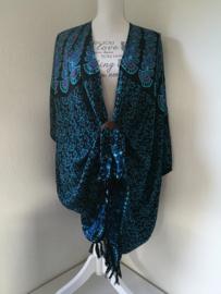 Sarong vest pauw, blauw/zwart/multi . Symbool van onsterflijkheid. 100% rayon, met sarong knoop.