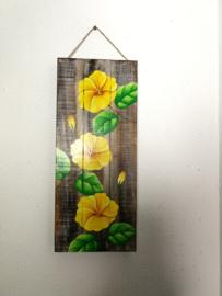 Houten wandpaneel Chinese roos. 51,5 x 20x 4 cm. Handwerk uit Ubud, geschilderd op juthout.