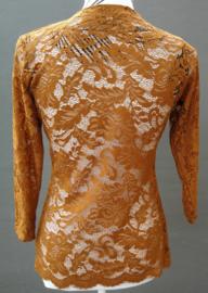 Traditionele Balinese kanten Kebaya herfstbruin. Bovenwijdte tot 96 cm. Taille tot 90 cm. Lengte mouw 50 cm. Ned. maat 42. 100% elastische kanten rayon.