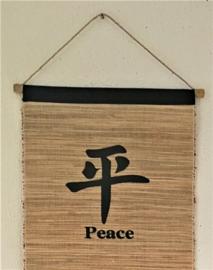 Spreukdoek Peace. Op jute geverfd. Afmeting 36 x 98 cm.