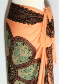 Sarong Mandala, abrikoos/groen/choklat.