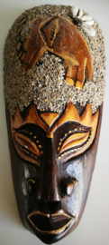 Krachtdier masker olifant.  22x11 cm. Handgemaakt. Als leraar van de universele wijsheid geeft hij je geduld en wijsheid.