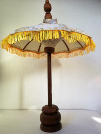 Bali parasol 60 cm creme. Diameter 47 cm. Op houten voet van palisander.