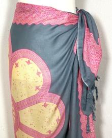 Sarong Mandala, grijs/roze/geel.
