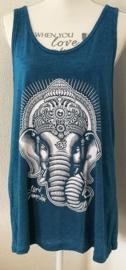 Lord Ganesha hemdje aqua S. Lang model, met wijde armsgaten. Met gedrukte print.