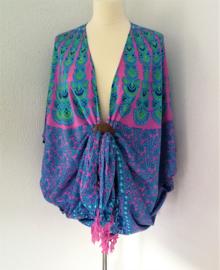 Sarong vest pauw, roze/groen/blauw. Symbool van onsterfelijkheid. 100% rayon, met sarong knoop.