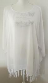 Sarongshirt wit met wijde hals, 100% rayon.One size.