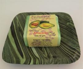 Schitterend zeepbakje met zand beschilderd hout. 10x10 cm. Tezamen met geurend Bali home spa zeepje avocado van 50 gram.