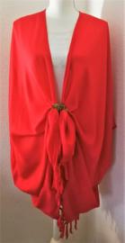 Sarong vest rood. 100% rayon, met sarong knoop.