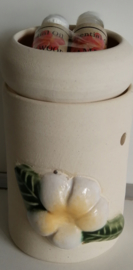 Handgemaakte Frangipani  verdamper van steen met twee verschillende olietjes van 4,5 ml. Sandelwood en Cempaka (Magnolia) Kan opgehangen worden.