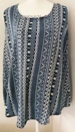 Mouwloze top Bali Blue, met ronde zoom.  Maat 42 t/m 48.  Lengte 70 cm, bovenwijdte 1.14 cm, heup 1.32 cm. 100% rayon