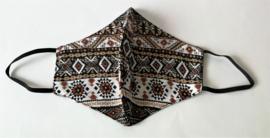 Batik mondkapje Bali modern Art zwart/wit/beige.