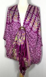 Sarong vest pauw aubergine/multi. Symbool van onsterflijkheid. 100% rayon, met sarong knoop.